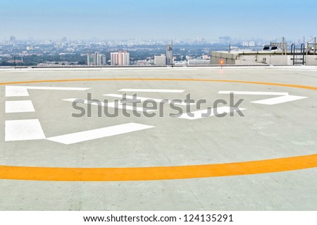 Helicopter landing pad on building