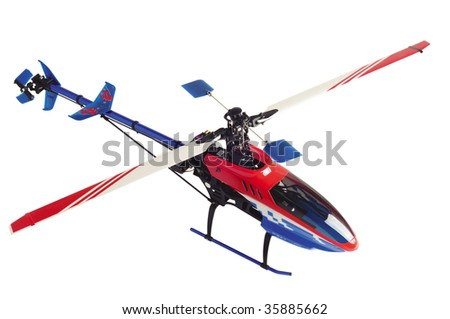Helicopter model isolated on white - stock photo