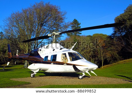 Helicopter on the ground at Dromoland Castle Co. Clare Ireland - stock photo