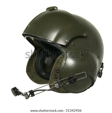helicopter pilot helmet isolated on white - stock photo