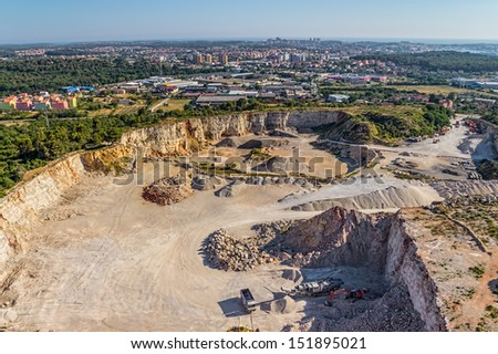 Helicopter shoot of the quarry - stock photo