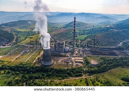 Helicopter shoot of the thermal power plant Pljevlja, only coal-fired power station in Montenegro.
