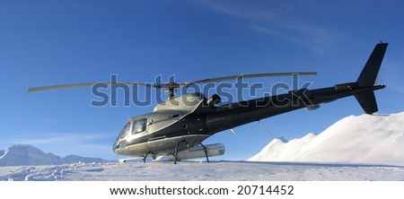 Helicopter Skiing in High Alpine - stock photo
