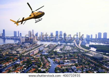 Helicopter tour in Miami, Florida, USA - stock photo
