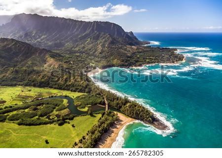 Helicopter tour of Kauai, Hawaii - stock photo
