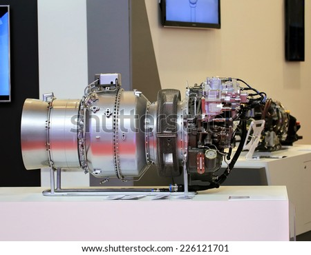Helicopter turbine provides horizontal movement of the aircraft - stock photo