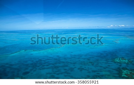 helicopter view great barrier reef Whitsundays Queensland