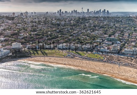 Helicopter view of beautiful Bondi Beach. - stock photo