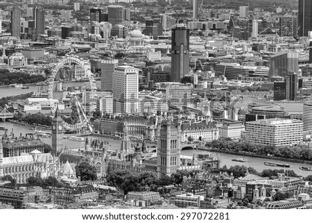 Helicopter view of Houses of Parliament and Big Ben, London. - stock photo