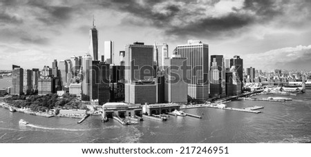 Helicopter view of Manhattan at dusk. - stock photo
