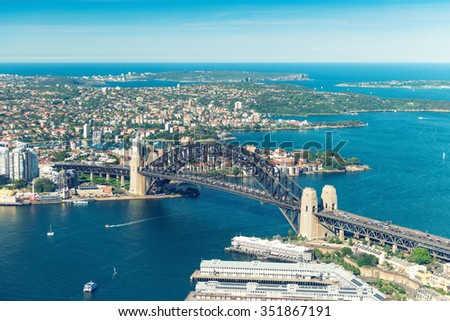 Helicopter view of Sydney skyline. - stock photo