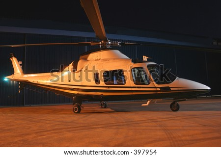 Helicopter waiting for takeoff - stock photo