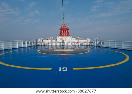 Helipad area on stern of ship - stock photo