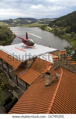 Heliport in the mountain, old, unconquerable estate