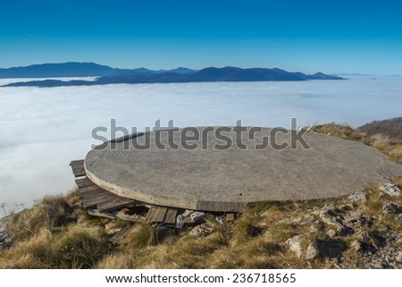 heliport on the top of the Klek mountain, Croatia - stock photo