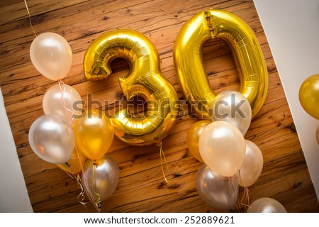 Helium balloons number 30 - stock photo