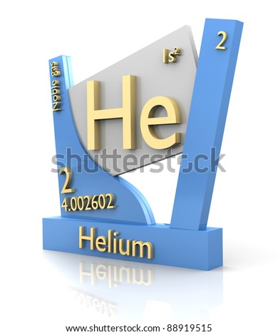 Helium form Periodic Table of Elements - 3d made - stock photo