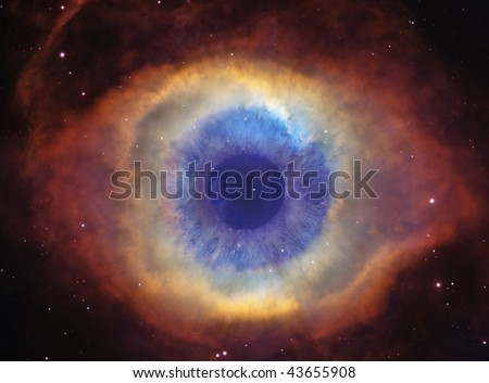 Helix Nebula (God's Eye) with an Eye - stock photo