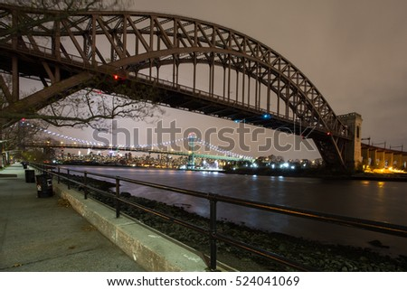 Hell Gate and Triboro bridge at night, Astoria, Queens, New York City