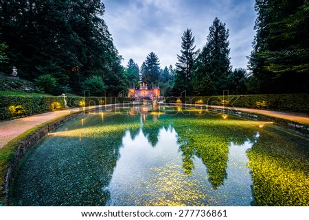 Hellbrunn Palace, an early Baroque villa of palatial size, near Morzg, a southern district of the city of Salzburg, Austria. - stock photo