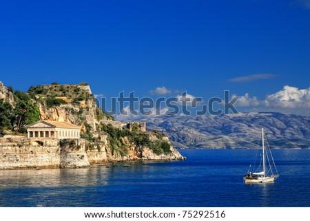 Hellenic temple at Corfu island, Greece - stock photo