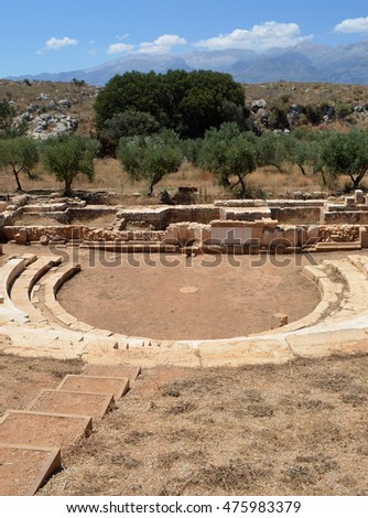Hellenistic  Amphitheater at Ancient Aptera in Crete, Greece