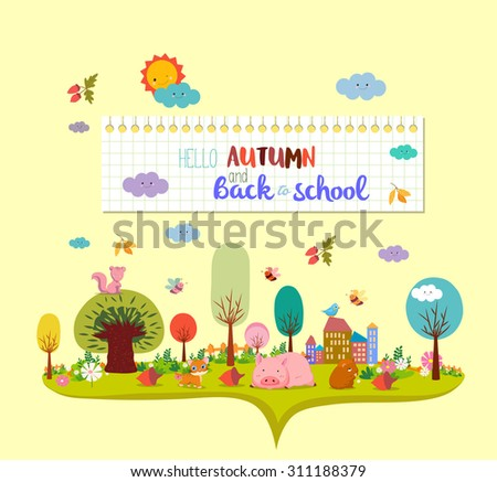 hello autumn and back to school. autumn banner background