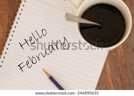 hello February on book  - stock photo
