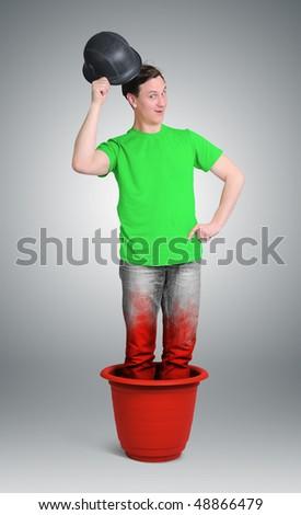 Hello from pot - stock photo