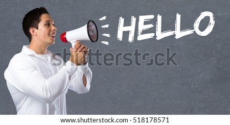 Hello greeting welcome message young man megaphone bullhorn