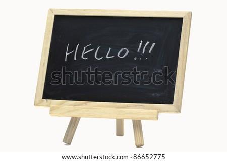 Hello handwriting on notice board, close-up. - stock photo