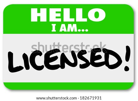 Hello I am Licensed Name Tag Official Certification - stock photo
