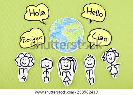 Hello in Different Languages / Learning Speaking Foreign Languages Concept - stock photo