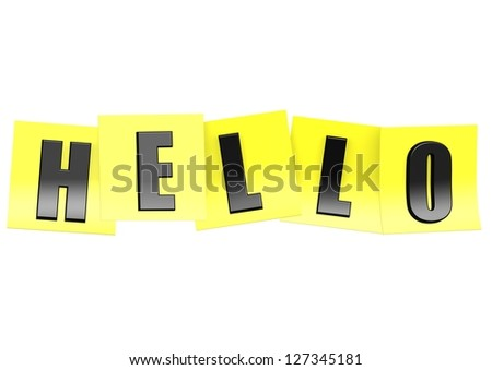 Hello in yellow note - stock photo