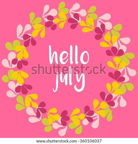 Hello July Wreath Sunny Yellow And Pink Card