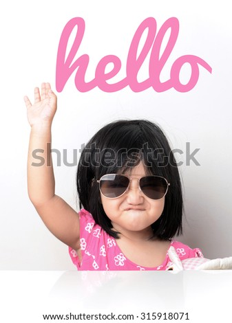 Hello - little girl hand up  - stock photo