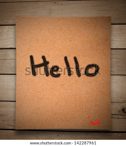 Hello message on paper and wooden wall