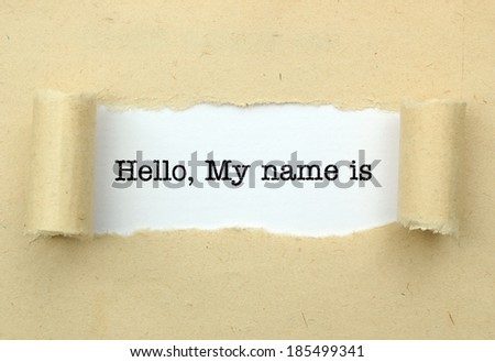 Hello, my name is - stock photo