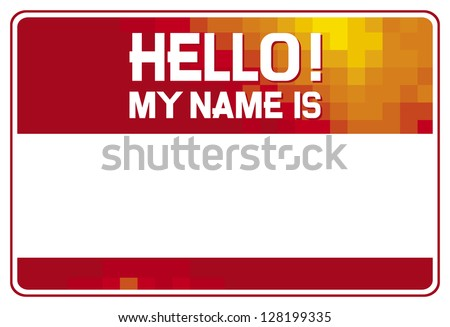 hello my name is card (red name tag blank sticker hello my name is, name tag blank sticker) - stock photo