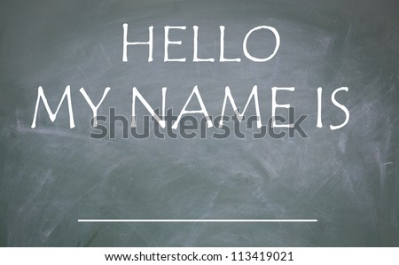 hello my name is title - stock photo