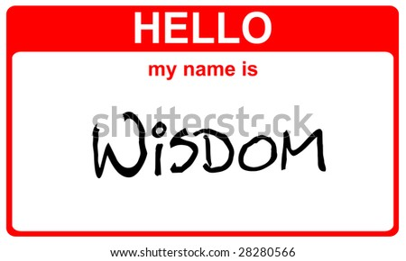 hello my name is wisdom red sticker - stock photo