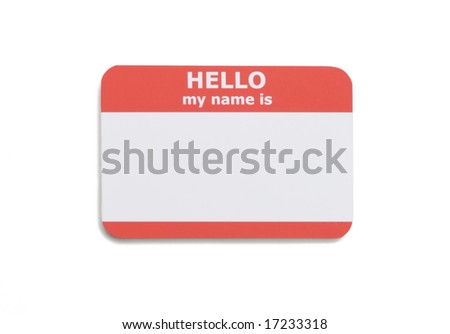 Hello name tag isolated on white background - stock photo