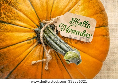 Hello November price tag on a pumpkin against burlap canvas - stock photo
