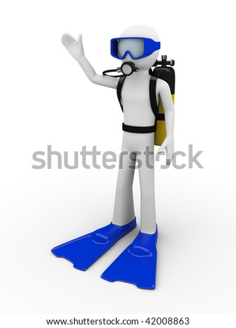 Hello scuba diver (men at work series) - stock photo