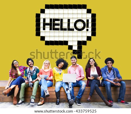 Hello Speech Bubble Technology Graphic Concept - stock photo