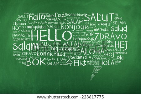 Hello Speech Bubble Word Cloud on Chalkboard in Many Different Languages - stock photo