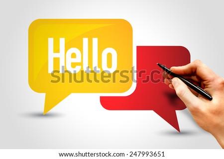 HELLO, Speech Bubbles, business concept - stock photo