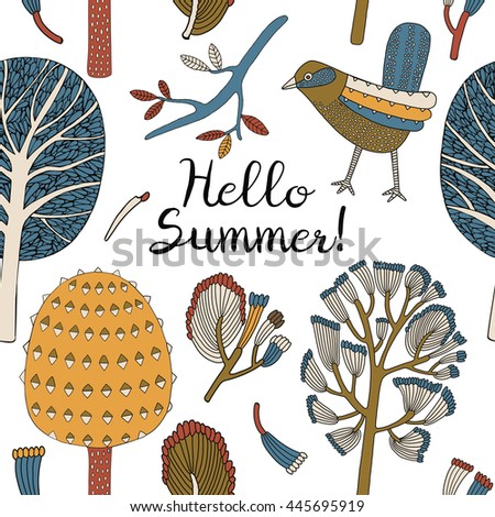 Hello Summer poster. Wild forest bird, illustration.