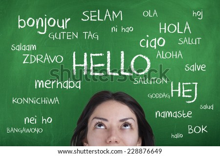 Hello Word Cloud in Different Languages  - stock photo