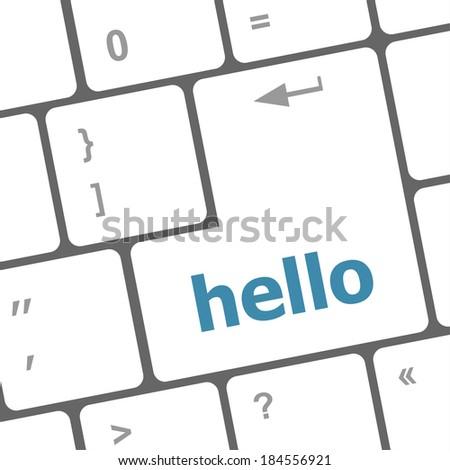 hello written in computer keyboard keys - stock photo